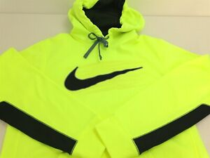 AUTHENTIC NIKE THERMA-FIT MEN SWOOSH PULLOVER Yellow NEON HOODIE Sz S