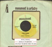 Parton, Dolly - I'm Not Worth The Tears  Vinyl 45 rpm record Free Shipping