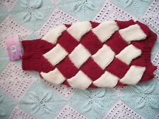 """Entrelac Large dog coat/jumper/Sweater Red Wine and White,18.5"""",super warm"""