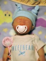 "Painted Born Too Soon Micro Preemie Full Body Silicone Baby Girl Doll ""Olivia"""