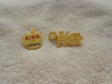 Kids are Terrific Apple Children First Pins LOT OF 2 Gold Tone