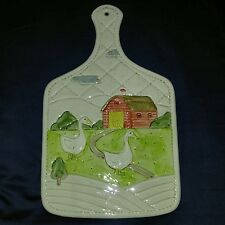 Vtg 1983 Otagiri Barn Farm Geese Tile Trivet Ceramic Wall Plaque