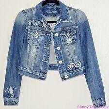 Miss Me Jeans Jacket Cotton Denim Cropped JJ5038A Rhinestone Floral Boho Blue S