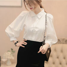 Womens Cotton White Elegant Office Shirt Career Blouse Tops Puff Sleeve Blouses