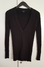 Gap Women'S Long Sleeve V-Neck Cable Knit Sweater Black Xs Cotton Angora