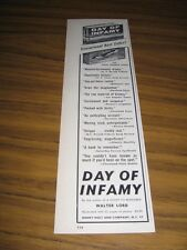 """1957 Print Ad for Best Seller Book """"Day of Infamy"""" by Walter Lord"""