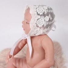 Baby Lace Bonnet Infant Cotton Hat Photography Accessory White