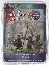 Bad Squiddo BFM034 Zombie Shieldmaiden Warriors (4) Miniatures Female Undead NIB