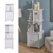 White Wood Bookcase Storage Cabinet Shelf Unit Rotating Bookshelf Display Stand