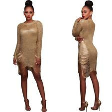 Women Fashion Long Sleeve Tinsel Knit Bodycon Slim Party Club Sweater Mini Dress