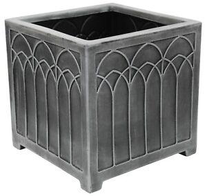 Gothic Grey Slate Square Raised Planter Plant Pot 38cm x 38cm