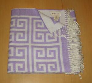 NEW Jonathan Adler Greek Key Throw Blanket Purple/Natural