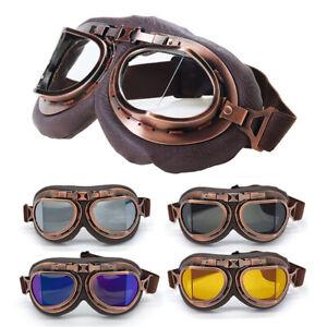Cycling Bike Goggles Leather Vintage Retro Windproof Glasses BMX MTB XC Eyewear