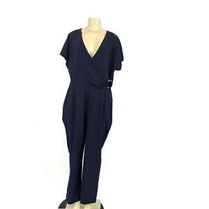 NEW Express Size XL Women Short Sleeve V-neck Jumpsuit Navy Blue F01