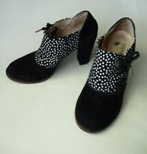 FARYL ROBIN BLACK SUEDE POLKA DOTS LACE UP HEELS SHOES 7