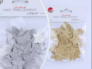 Handcrafted Glitter Stars Self Adhesive Embellishments Crafts Card Making