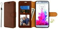 BROWN Leather Flip Wallet Phone Case Protective Cover Stand Strap For LG Stylo 4