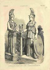 Antiquité Statue de Minerve trouvé à Athènes Grèce GRAVURE 1881