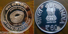"""INDIA 2014 UNC 60 RUPEES COMMEMORATIVE SILVER COIN """"60 YEARS OF COIR BOARD"""""""