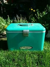 Vtg Metal Teal/Turquoise/Green Thermos Holiday Ice Chest Cooler Rare Collect