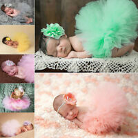 Newborn Baby Girls Tutu Skirt Dress Headband Photo Prop Costume Outfit