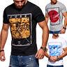 JACK & JONES T-Shirt Rundhals Herren Kurzarm Poloshirt Schwarz/Weiß Print NEU