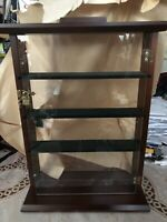 NEW!! Vintage Dark stained Wood,Glass Lock Door Cupboard for small item display