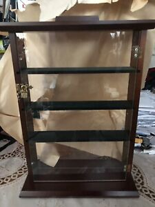 Vintage Dark stained Wood,Glass Lock Door Cupboard for small item display