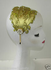 Gold Vintage Feather Headpiece Headband Pearl Art Deco Flapper 1920s Downton Q37