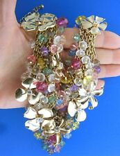 Floral Bead Cluster Statement Necklace Gold Tone 3 x 22