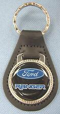 Vintage Black Ford RANGER Black Leather USA Keyring Key Fob Key Holder