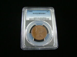 1854 Braided Hair Large Cent PCGS Graded MS64BN