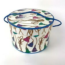 Vtg Cardboard Hat Box Colorful Decorative Tassels Design Rope Handle 1992 Lvc