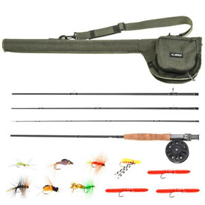 2.7M Complete Fly Fishing Kit Rod Reel Line Bag 10 Flies Backing Box 4 Section