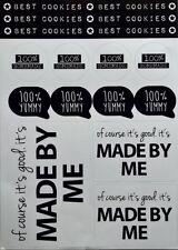 Etiketten 100% Homemade Aufkleber Cookies Yummy Made by me Labels Sticker NEU