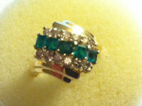 1/2ct Diamond and Emerald Cluster 14K Yellow Gold Cocktail Ring Size 7