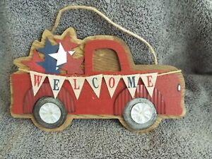 WOOD RED TRUCK WELCOME SIGN