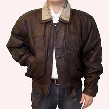 GENUINE LAMB LEATHER COAT WITH REMOVABLE LINING & SHEARLING COLLAR SIZE XL BROWN