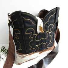 Handmade COWBOY BOOT PURSE Brown LEATHER OOAK Cowgirl Western Gold Handbag Bag