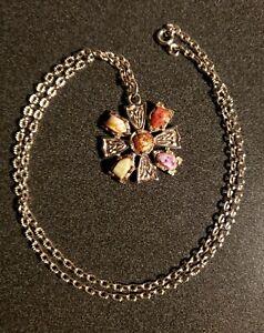 Maltese Cross Design Stone Necklace