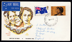 1970 QEII Royal Visit to Australia SCONE NSW FDC Air Mail to Essex UK GB