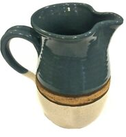 "Vintage Salt Glaze Pitcher Pottery Blue,Beige,and Brown 8.8"" Tall Signed"
