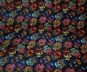 New Soft Plush Sugar Skulls Day of the Dead Thick Throw Gift Blanket Skull Black