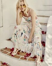 Free People ivory Watercolor Maxi Swing Dress Jumper Ruffled Tier Overall 8 $168