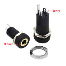 5PCS PJ-392A 3.5mm 3 Pole Black Audio Jack Socket  Stereo Solder Panel Connector