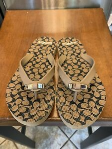 Coach Flip Flops NWOT Logo Stamped Brown With Now Size 6/7 Classic Style Comfort