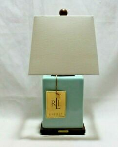 Ralph Lauren Light Pale Blue Smooth Finish Porcelain Sm. Table Lamp & Shade New