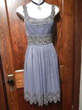 ADRIANNA PAPELL slate blue silk ruched dress w/ pewter silver beads beaded 4 3F