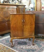 English Antique Walnut Ball & Claw Bar Cabinet With Light & Mirror