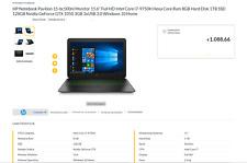 HP PAVILION 15 BC-500NL - HHDD 1TB + 128GB SSD - I7 9°GEN - 8 GB RAM GARANZIA
